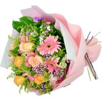 Six Roses Mixed with Six Gerbera Bouquet