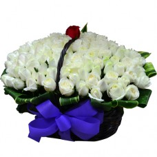 101 Roses arrangement in Basket